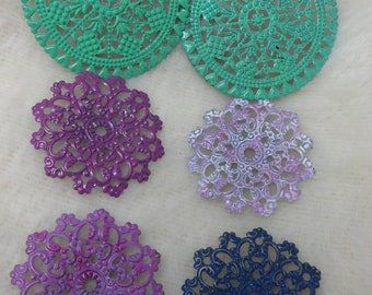 Large Filigree Connectors Findings Round Medallion Filigree Hand Painted Patina Painted Findings Purples and Green Assemblage Art Jewelry
