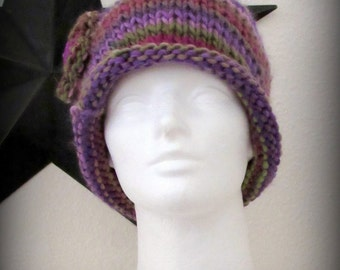 knit hat - knit cap - hand knit hat - Purple knit hat - knit beanie - Merino wool knit hat - Merino wool hat - Mauve knit hat - Green hat