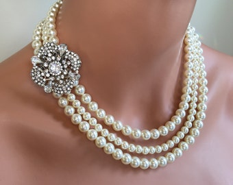 Pearl Backdrop Necklace with Brooch 3 strands Swarovski pearls in Cream ivory ir your choice if color bridal wedding jewelry sets