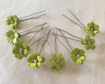 Flower Hair Pins x 8. Lime Green. HANDMADE. Wedding.