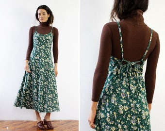 Floral Maxi Dress M/L • Vintage Floral Dress • Green Maxi Dress • 90s Maxi Dress • Tea Length Dress • 90s Floral Dress | D1056