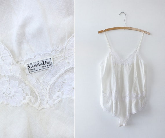 Christian Dior Vintage Teddy S • Lace Teddy • Cotton Lingerie • 80s Lingerie • Teddy Lingerie • Cotton Bodysuit • White Lace Bodysuit | T203