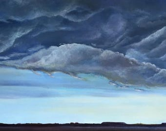 Stormy Sky over Central Texas - Original Oil Painting