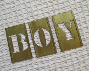 Vintage Boy Brass Letter Stencils - Word Boy - Shop Decor - Studio Decor - Photo Prop - Mixed Media, Assemblage Art