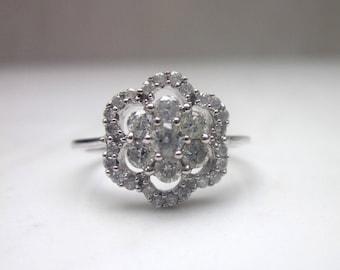 Estate .50 Carat Diamond Flower Cluster Ring Set in 18k Solid White Gold, Size 4 // Flower Ring //