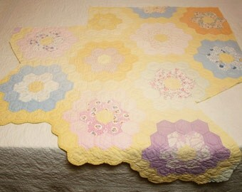 Shabby Chic Cottage Faded Yellow Grandmother's Flower Garden Vintage Quilt Piece