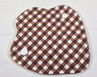 "Thong Liner Cotton Fleece 6"" Brown Gingham"