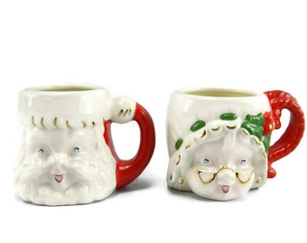 Vintage Santa & Mrs. Claus Head Mugs Vintage Holiday Decor Christmas Decor