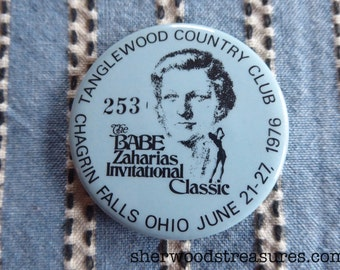 Women's Rights Golf Cause Button 1976 Babe Zaharis International Women's Golfer Feminist Choice Pinback Button Equality