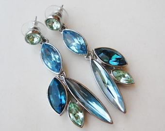 Vintage GIVENCHY Blue Rhinestone Jeweled Long Pierced Drop Dangle Silver Earrings