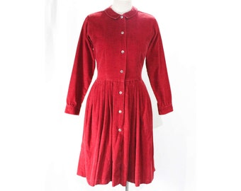 Size 8 Shirtwaist Dress - 1950s Cranberry Red Corduroy Preppie Classic - 50s Early 60s Long Sleeve Cotton - Pleated Skirt - Waist 27 - 48417