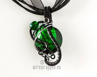 OOAK green grey and black wire wrapped pendant