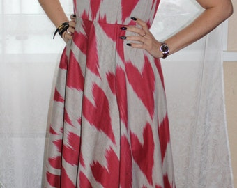 Heart pattern cotton ikat long dress