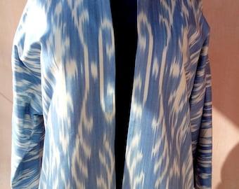Uzbek blue cotton woven ikat kaftan. Adras Chapan