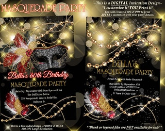 Masquerade Party Invitation, Mardi Gras Party, Birthday Masquerade Ball, Miss Quince Anos, Sweet 16 Masquerade