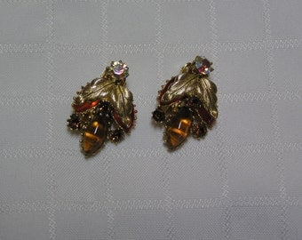 Vintage amber glass beads and orange glass petals borealis and gold gone leaves layered clip earrings