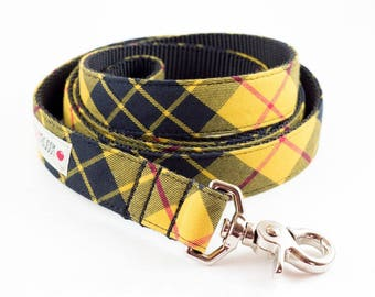 Mustard and Black Plaid Dog Leash