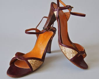 Vintage Shoes 1970's Etienne Aigner Leather and Woven Sexy Peep Toe Sandals size 7-7.5 US