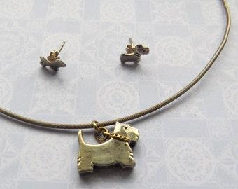 HANDMADE British Designer Sterling Silver/Gold Scottie DOG NECKLACE