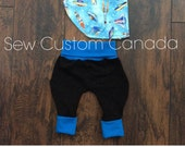 ready to ship Babywearing grow with me harem pants -Black and Blue 6-12 months with spaceship bib