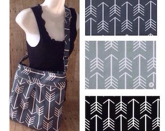 Crossbody Diaper Bag / Large Pleated Crossbody Purse - Made to Order - Grey or Black Arrow Fabric with free keyfob