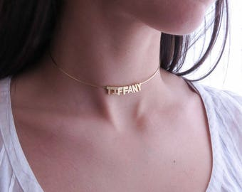 Custom Gold Choker, Gold Wire Choker, Personalized Choker, Name Choker, Unicorn Necklace, Gold Initial Choker