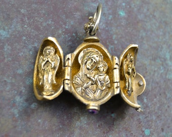 MADONNA and Child  Saints Red Guilloche Enamel VERMEIL opening egg PENDANT