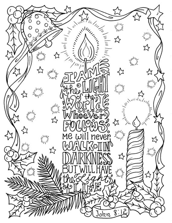 free bible christmas coloring pages | Christmas Candle Coloring page Christian Scripture Color book