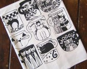 Cat Cups Red Flour Sack Kitchen Towel