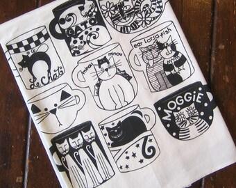 Cat Cups Kitchen Towel