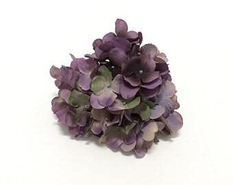 Artificial Hydrangea Head in Shades of Purple - Artificial Flowers, Silk Flowers, Wedding Flowers, Hair Accessories, Flower Crown, Millinery