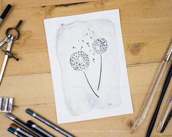 Wishing Away - Original dandelion seed flower illustration. Original tea and ink illustration