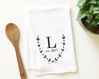 monogrammed tea towel, personalized tea towel, wedding gift, gift for newlyweds, custom tea towel, flour sack tea towel, kitchen decor