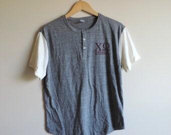 New Chi Omega Gray & Maroon Henley Short Sleeve Shirt // Size MEDIUM // Only One // Ready to Ship
