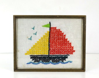 Vintage Sailboat Needlepoint / Nursery Cross Stitch / Nautical Boat