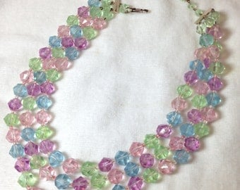 Three Strand Necklace // Plastic Beads // Vintage // Choker Style // Pink, Purple, Green, Blue Beads  // West Germany