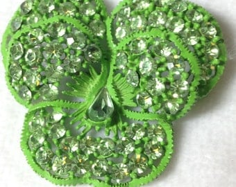 Weiss Brooch  // Green // Green Rhinestones // 1960s // Pansy Shape // Vintage