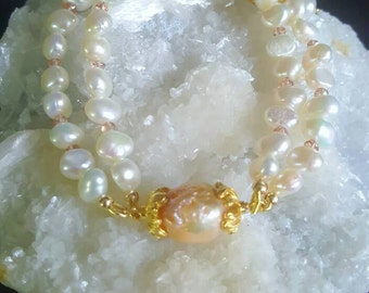 Freshwater Pearl Champagne Topaz with Kasumi Like Pearl 2 strand Bracelet in Gold Vermeil Bridal Jewelry