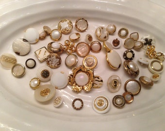 Gold Shank Buttons - 50 assorted white with metallic gold shank buttons