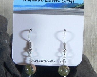 Green pink unakite earrings 6mm granite rainforest rhyolite semiprecious stone jewelry packaged in a colorful gift bag 3141