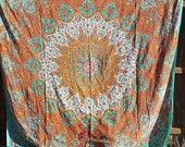 Large Mandala Tapestry Orange and Turquoise Queen size Tapestry Beach Blanket Yoga Mat Meditation Mat Festival Sheet