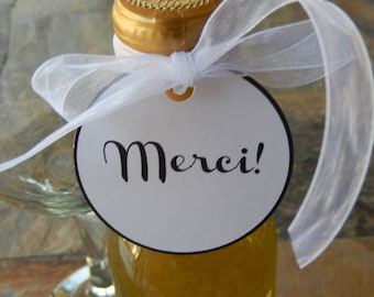 "Merci! Thank You 2"" Classic Simple Favor Tags - 30 Tags - for Mini Wine or Champagne Bottles - Wedding - Anniversary - Birthday - Engagement"