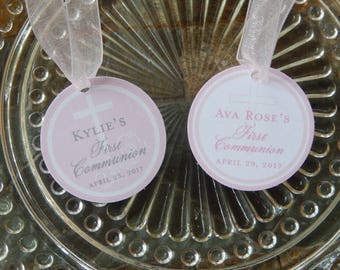 """First Communion Thank You Cross 1.5"""" Favor Tags - For Cake Pops - Cookies - Lollipops - Catholic Party Favors - (24) Printed Tags"""