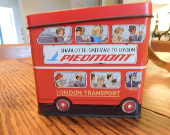 Piedmont Airlines tea tin England Charlotte Gateway to London double decker bus 1980s  Gatwick Airport London Transport