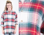 Oversized Cotton Flannel Plaid Shirt Jacket * Reworked Red Green White Outdoor Grunge Tartan Christmas * Mens Womens Unisex * FREE SHIPPING