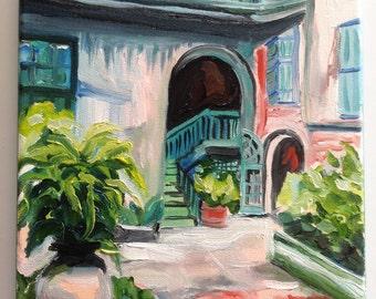Brulatour Courtyard | oil on Canvas 8 x 10 Louisiana Artist Kristi Jones | Impressionist painting | French Quarter | New Orleans art