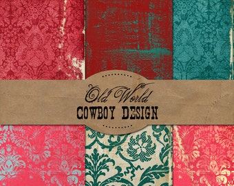 Old World Cowboy Design digital papers Commercial Use okay. Scrapbook invitations supplies card making wedding website graphics clip art