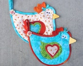 chicken, hen, rooster, bird, funny, pot holder, hot pad, kitchen, cooking, blue, orange, green