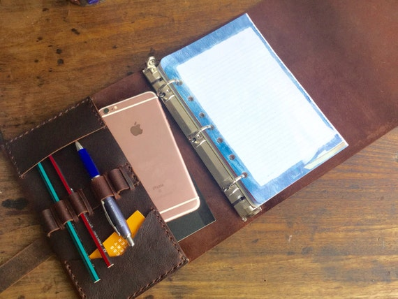Half page binder A5 leather planner Small 3 ring binder