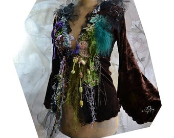 REESERVED For N. Beautiful Unique Art To Wear Velvet Jacket FROZEN SWAMP Forest Fairy Boho Tattered